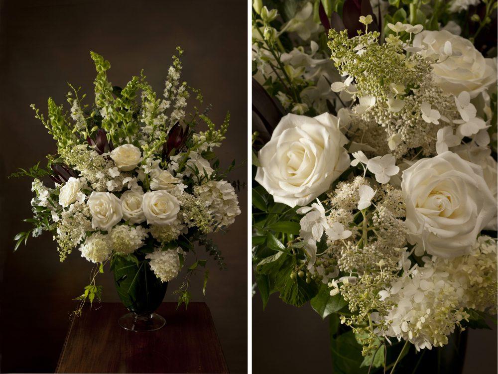 Sympathy Vase White & Green