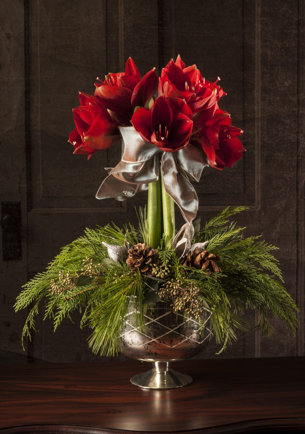 Amaryllis Topiary in Mercury Compote