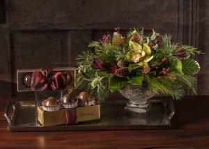Chocolate Truffles with Flower Arrangement