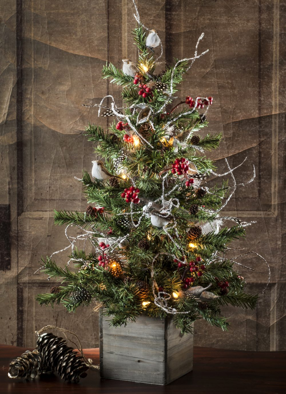 Faux Lighted Tree with Birds