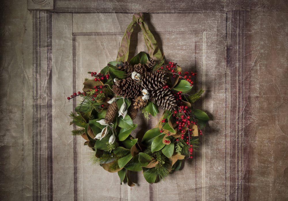 Faux Magnolia Wreath with Evergreens, Berries, Cones
