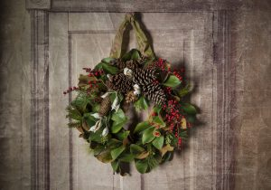 Faux Magnolia Wreath with Evergreens, Berries, Cones