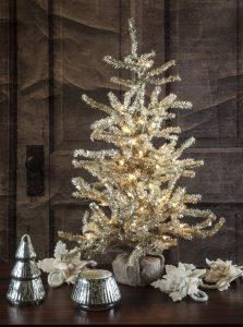 Tabletop Lighted Tinsel Tree with Votive