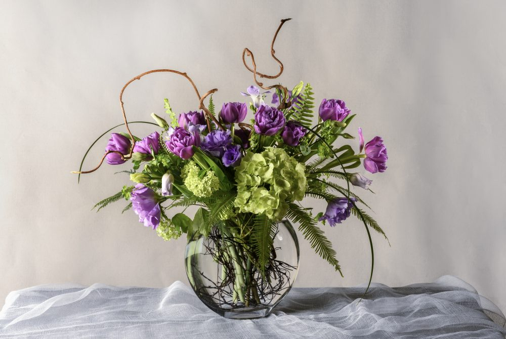 A fresh flower arrangement with spring tulips
