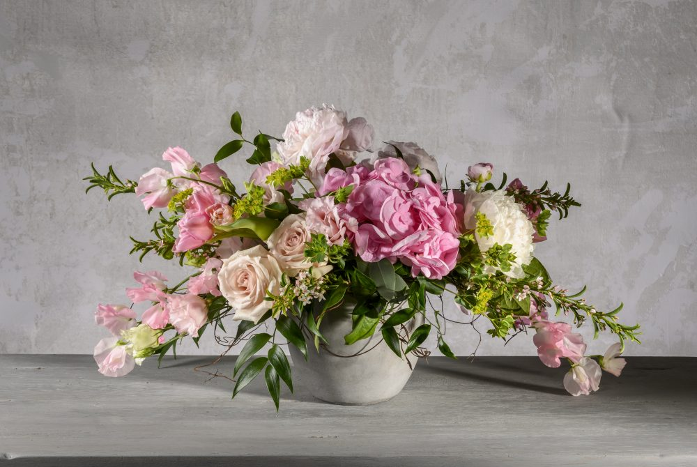 Fresh flower arrangement for Mother's Day in spring pink and blush.