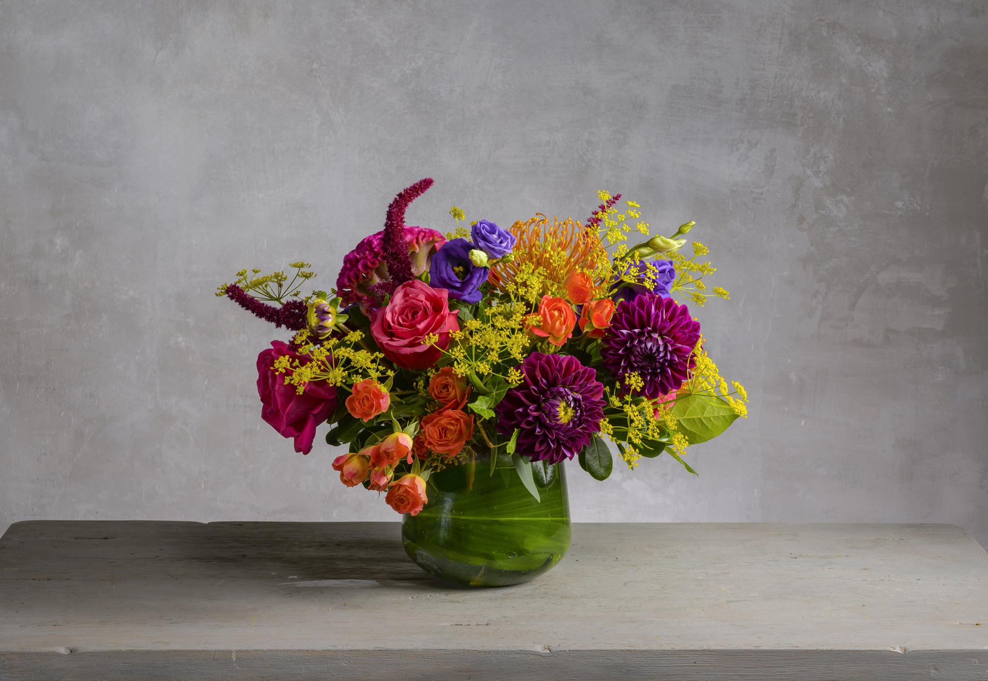 Leia Bold Fresh Flower Arrangement In Purple Magenta And Orange Robin Wood Flowers