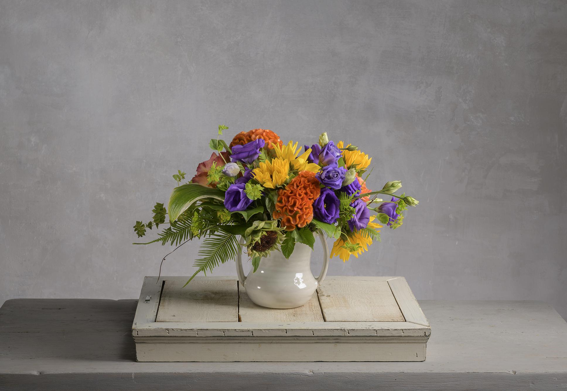 Robin Wood Flowers & WREN Bright Summer Flower Arrangement in a Two-Handled Pot