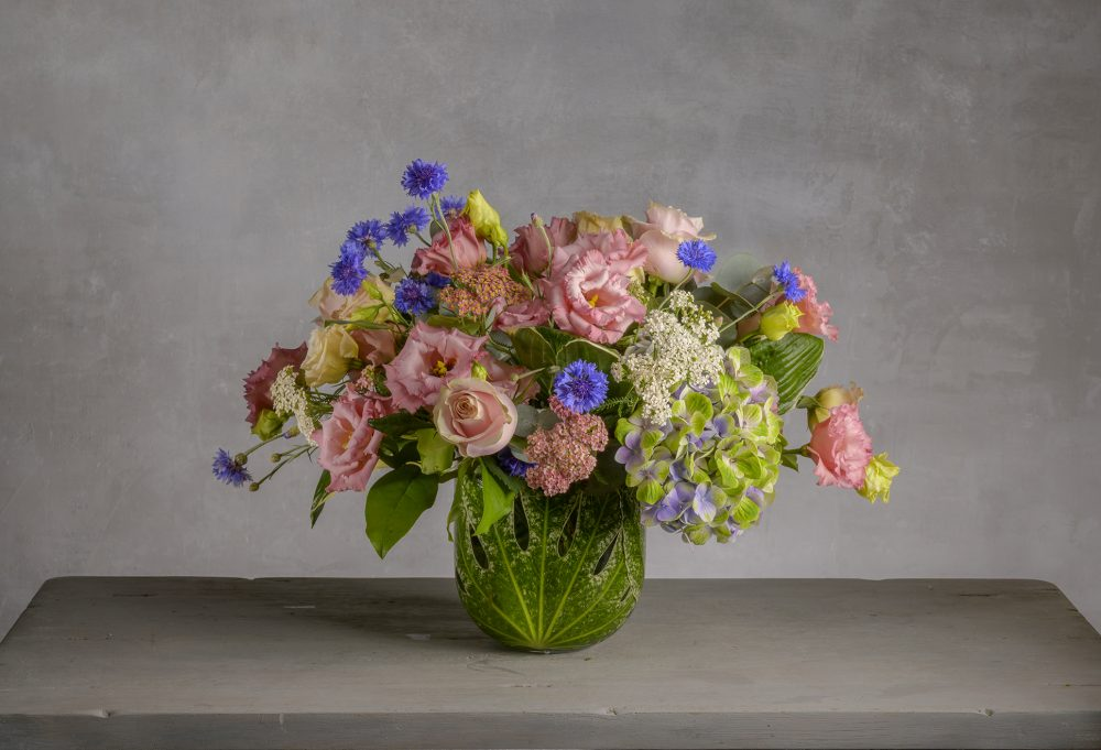Fresh flower arrangement for in summer pinks.