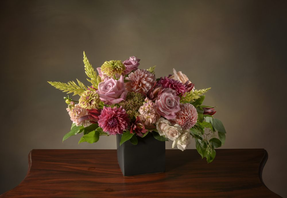 Fresh flower arrangement in soft autumn blush and pinks.