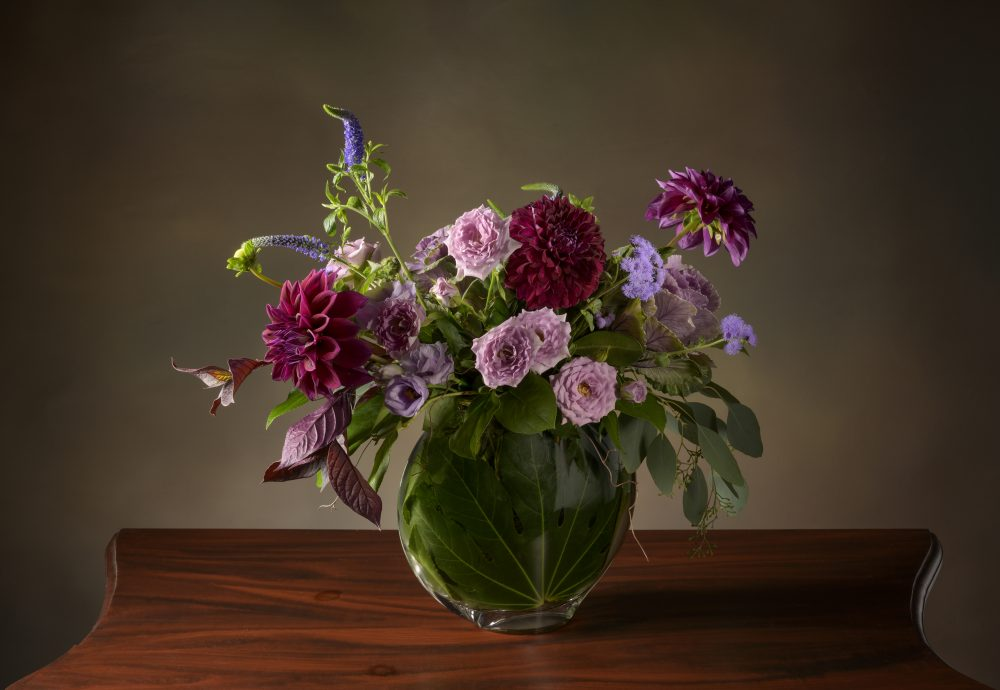 Fresh flower arrangement in contrasting purple blooms