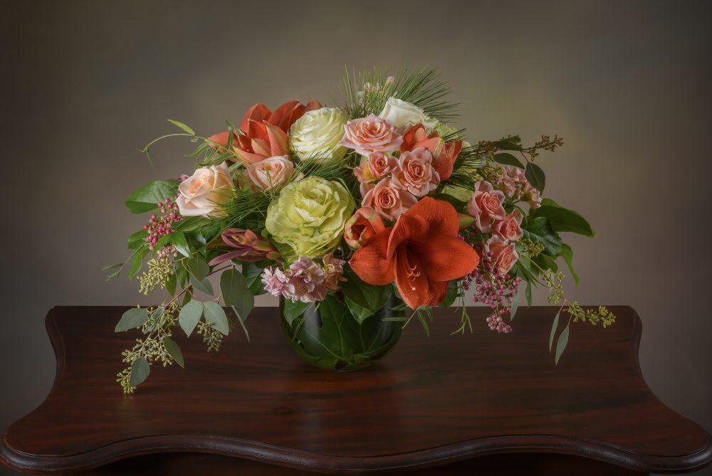 Bright autumn pastel flower arrangement