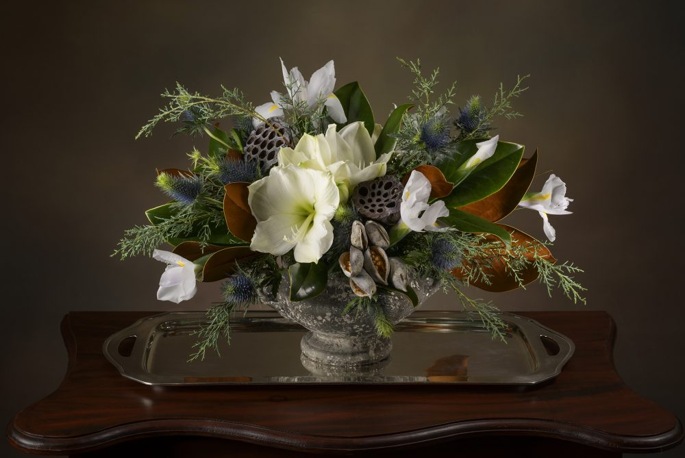 Fresh flower winter arrangement in white and green.