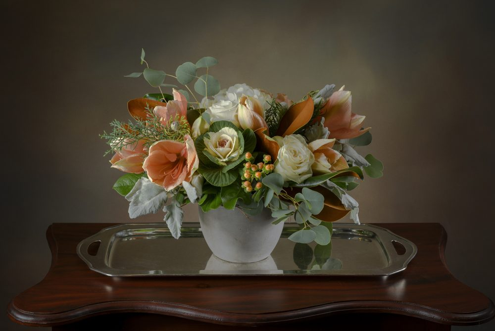 Winter pastel flower arrangement