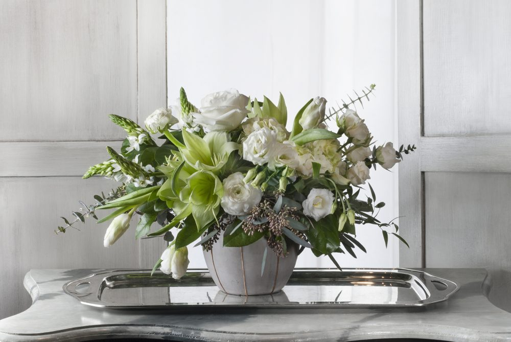 White spring blossoms in a fresh flower arrangement.