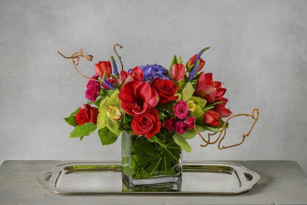 Bold spring flowers in jewel tones for a Valentine fresh flower arrangement