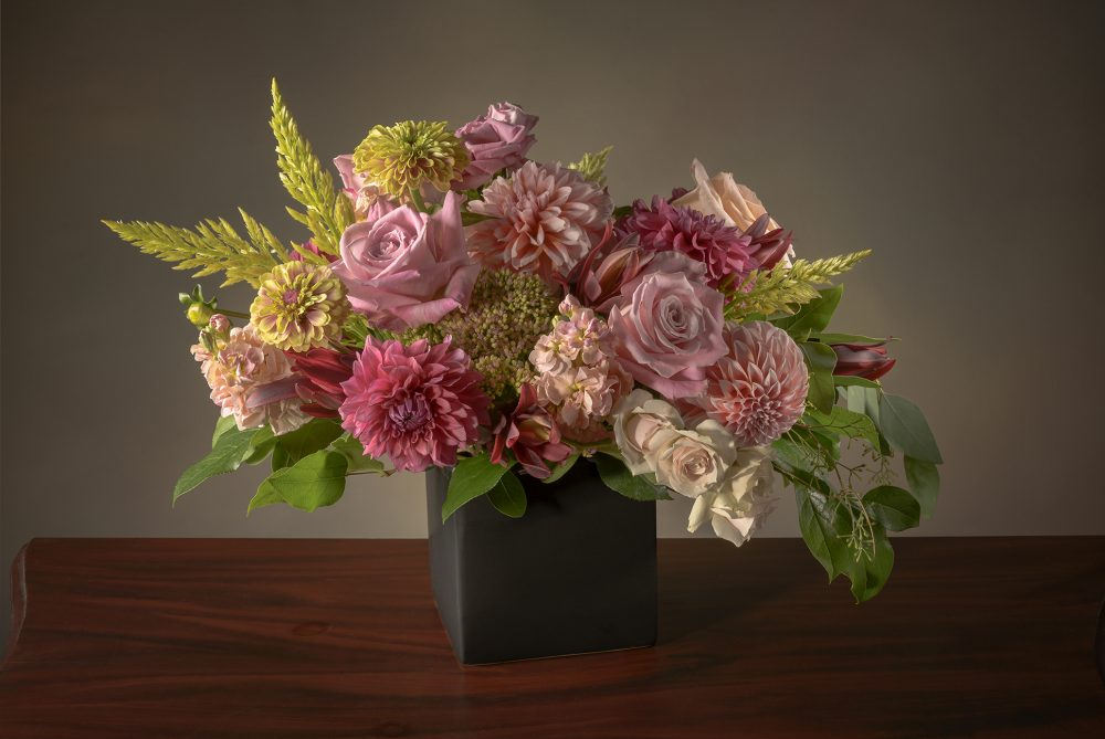 Fresh flower arrangement in soft autumn blush and pinks delivered