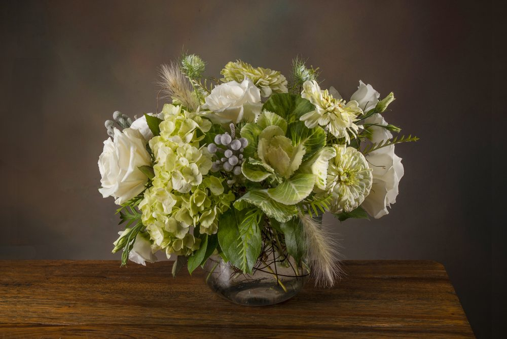 Autumn arrangement of white and green fresh flowers delivered