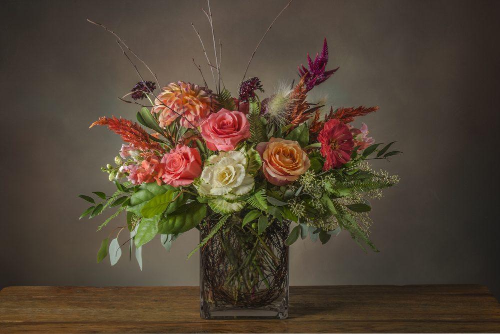 Fresh flower arrangement autumn seasonal colors delivered