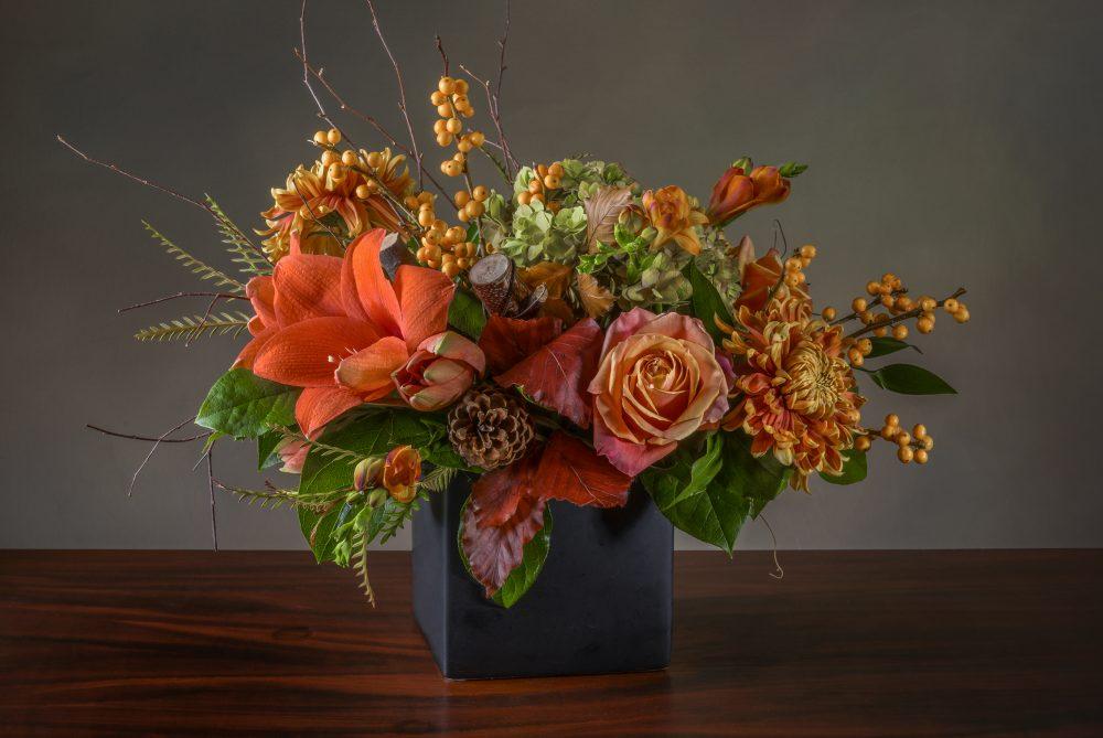 Fresh flower arrangement bright autumn seasonal colors delivered