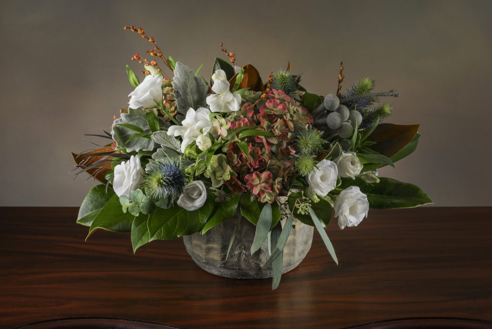 Unique fresh flower arrangement with foliage, berries and soft flowers delivered