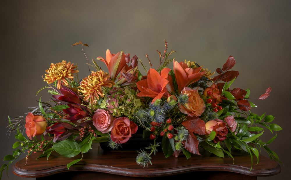 Fresh flowers in autumn colors Thanksgiving centerpiece