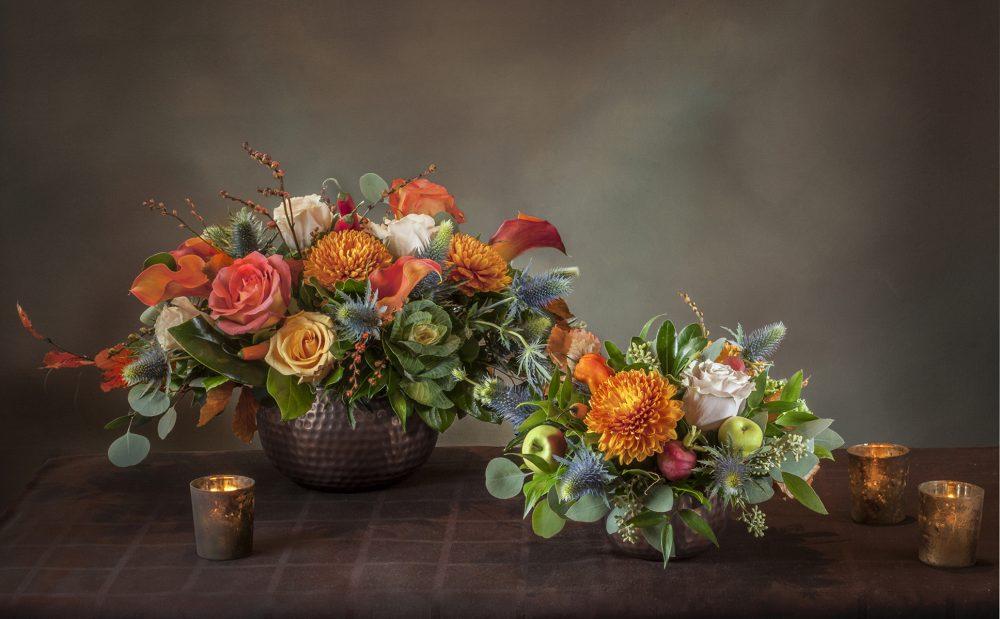 Fresh flowers round Thanksgiving centerpiece in bright autumn flowers