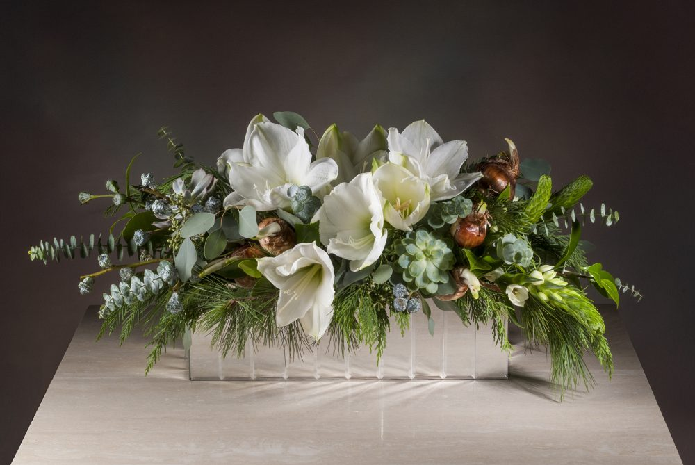 Fresh flowers in winter white amaryllis with evergreens and succulents in a mirrored box delivered.