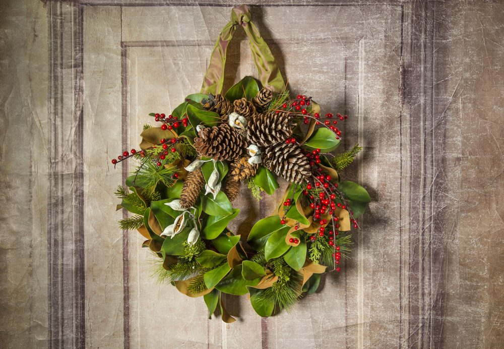 Lush faux magnolia holiday wreath for your door or mantle delivered