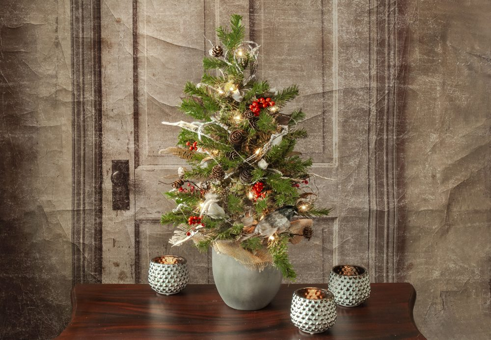 Cheerful and bright tabletop faux Christmas tree
