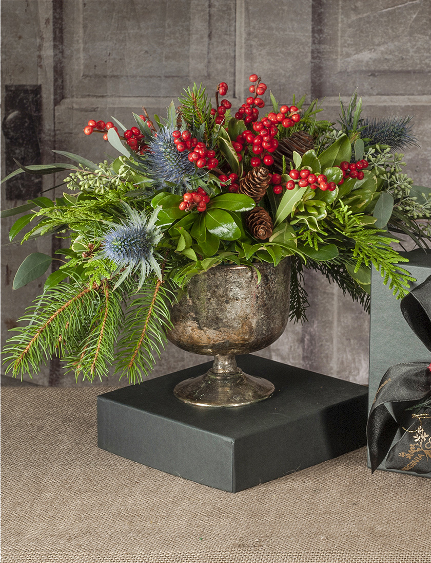 Petite fresh evergreen and berry arrangement holiday gift delivered