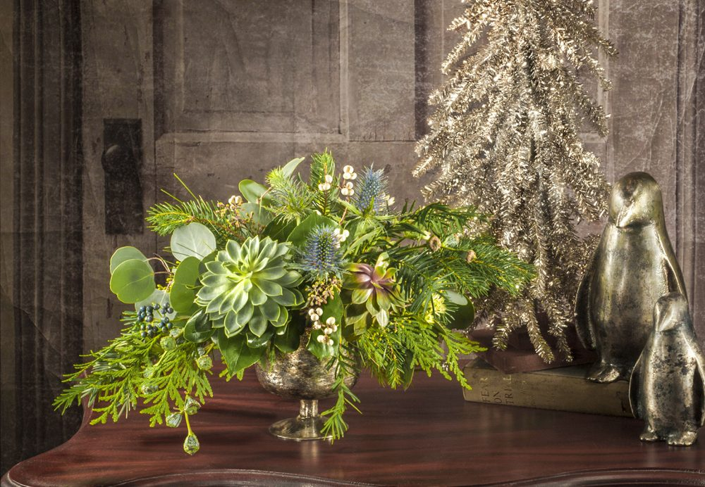 Petite fresh evergreens and succulent arrangement with berry accents holiday gift delivered