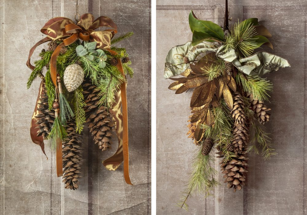 Wonderful giant cones and faux evergreens with botanical accents for the holidays delivered