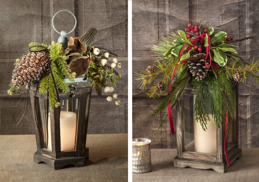 Wooden frame and glass pane lantern decorated for the holidays delivered