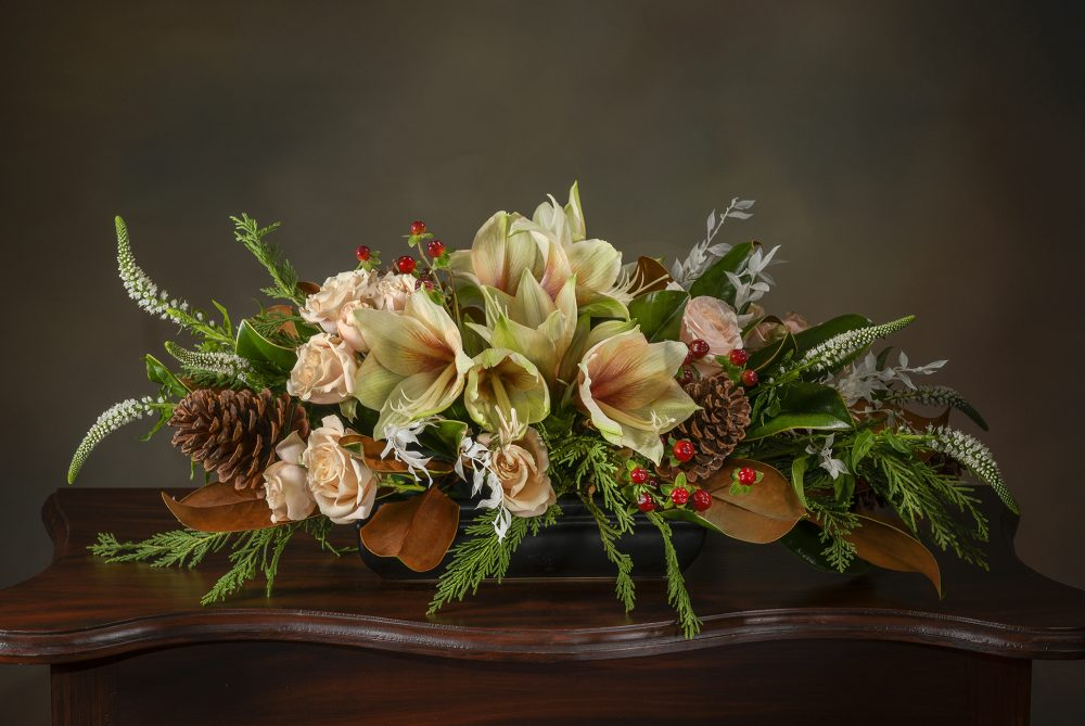 Pastel winter flowers and foliage for a unique holiday centerpiece